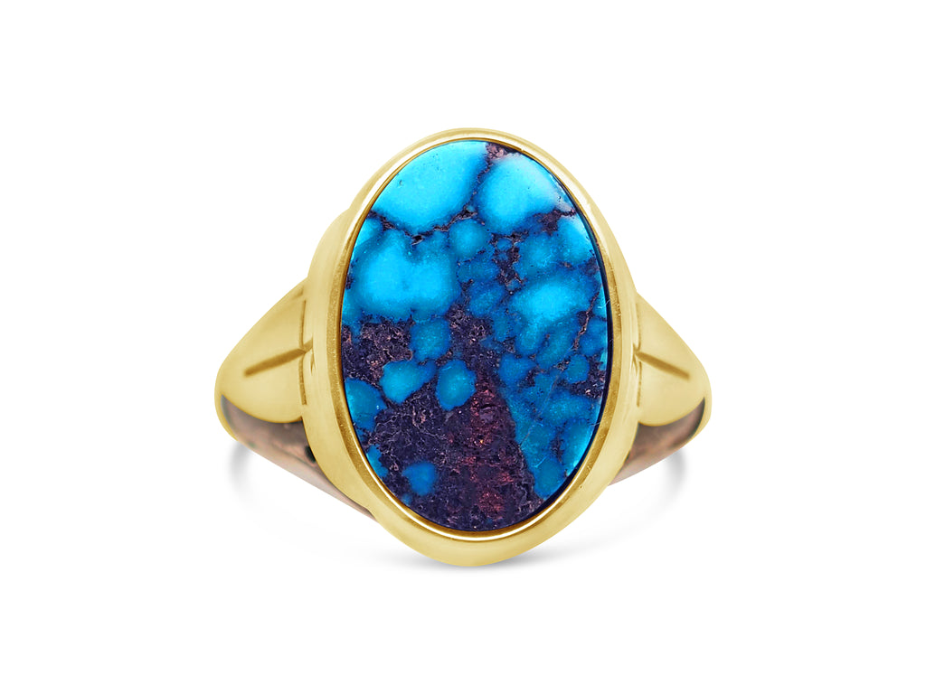18ct Yellow Gold - Oxidized Silver Ithaca Peak Turquoise Mens Signet Ring