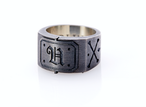 Oxidised Sterling Silver Initial / Cross - Bones Ring (U)