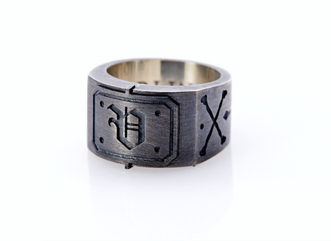 Oxidised Sterling Silver Initial / Cross - Bones Ring (V)