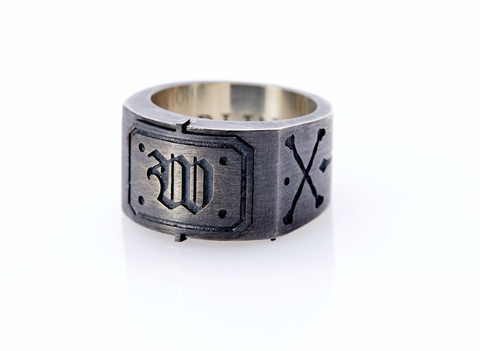 Oxidised Sterling Silver Initial / Cross - Bones Ring (W)