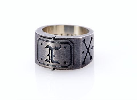 Oxidised Sterling Silver Initial / Cross - Bones Ring (X)