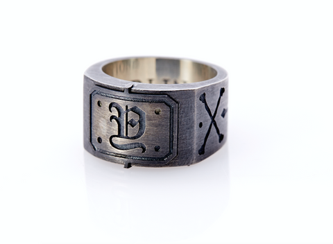 Oxidised Sterling Silver Initial / Cross - Bones Ring (Y)