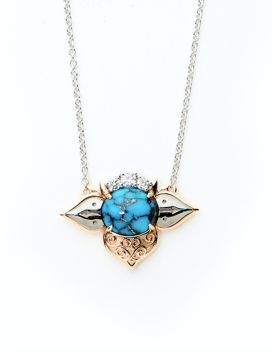 18ct White - Rose Gold Turquoise - Diamond Necklace