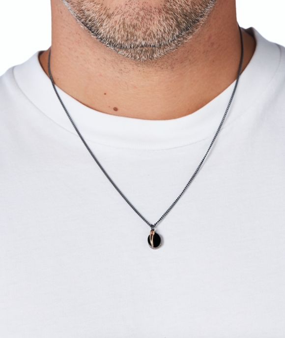 mens style. mens black necklace. jewelry for him