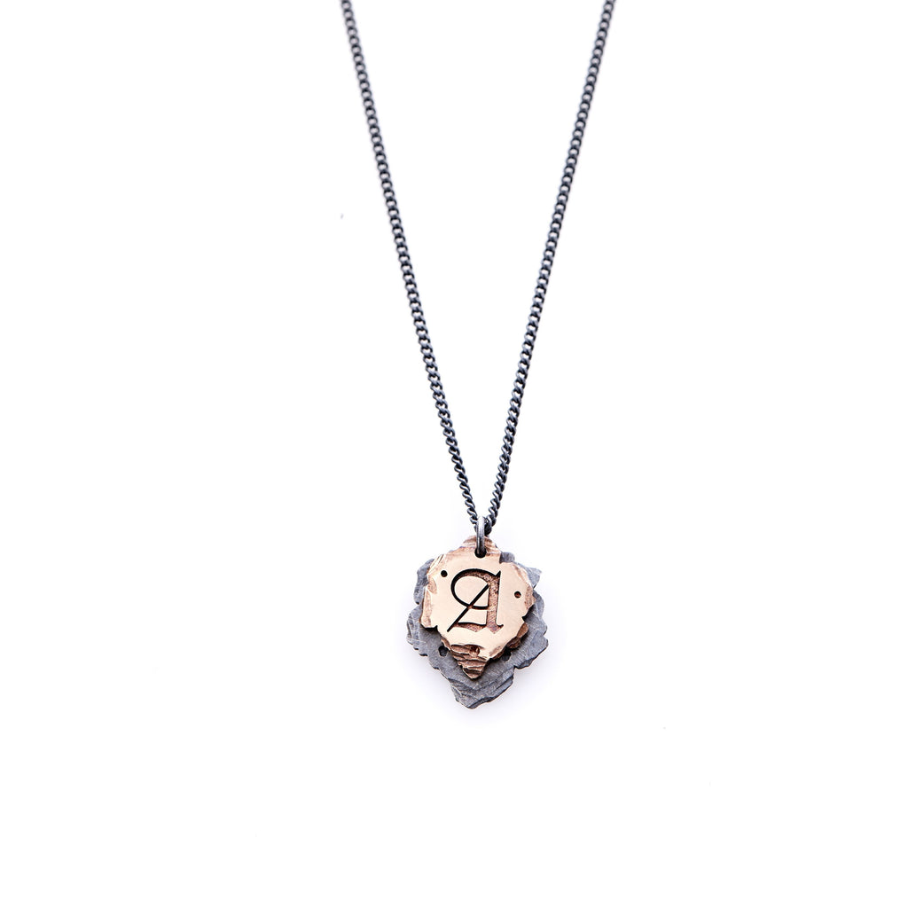 Hand Forged - 14ct Rose Gold - Oxidised Sterling Silver Cross Bones - Initials Necklace