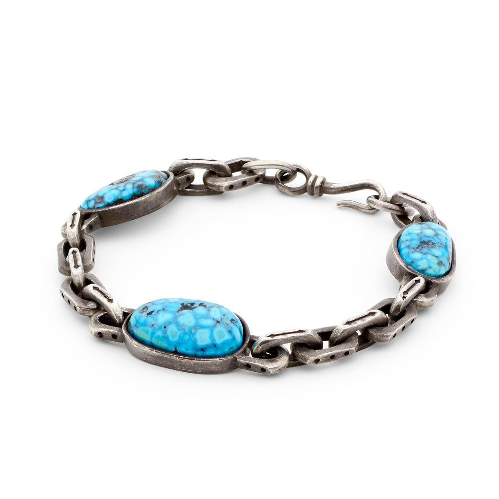 Oxidized Sterling Silver - Ithaca Peak Turquoise Bracelet
