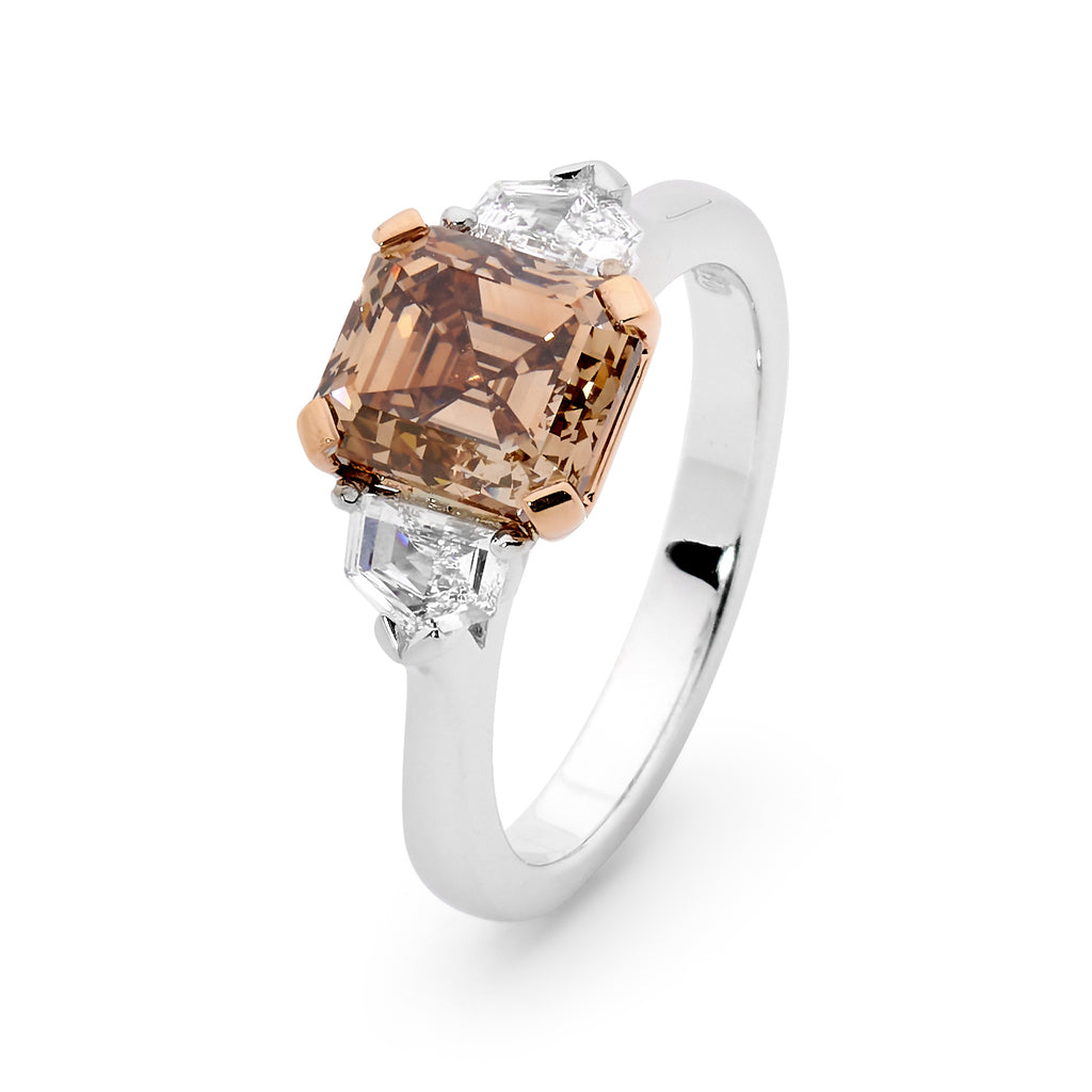 18ct White - Rose Gold Asscher Cut Cognac Diamond Ring