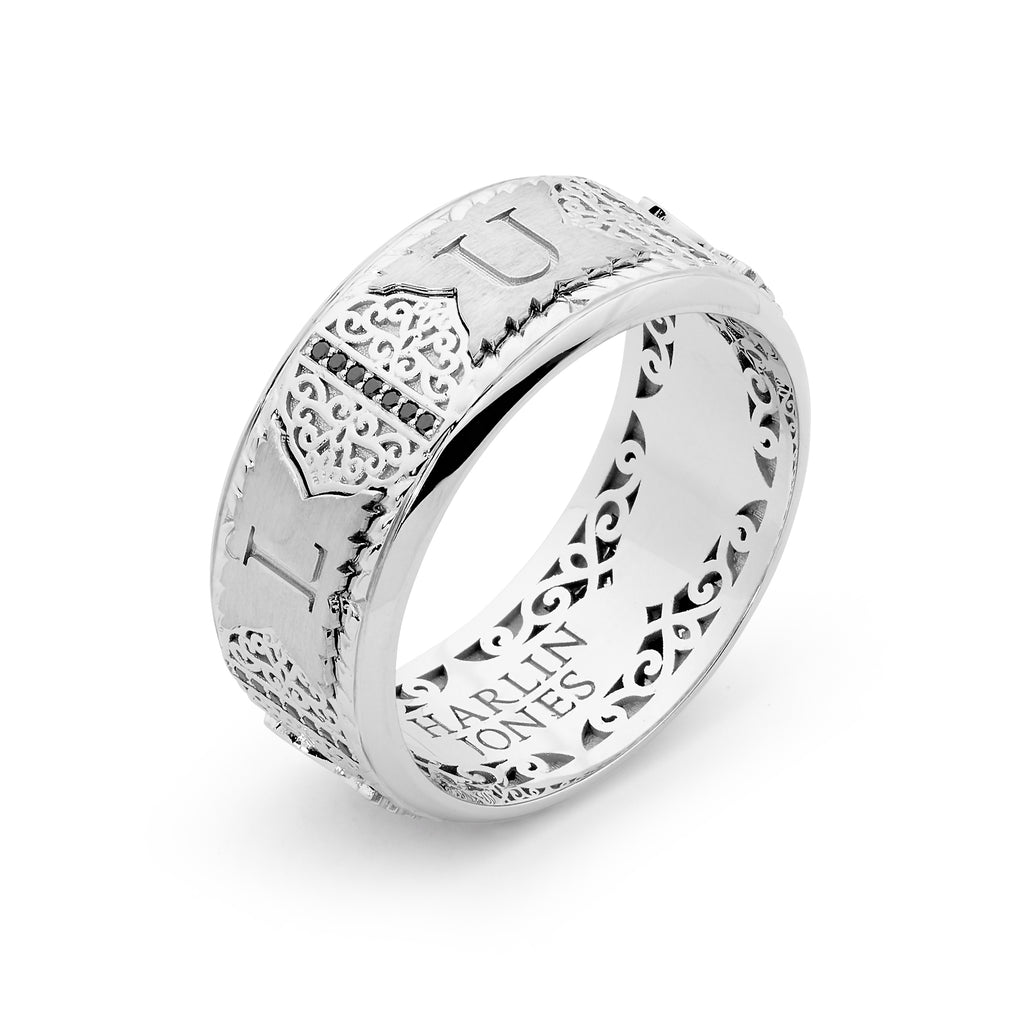 LUANA - 18ct White Gold - Black Diamond Wedding Band