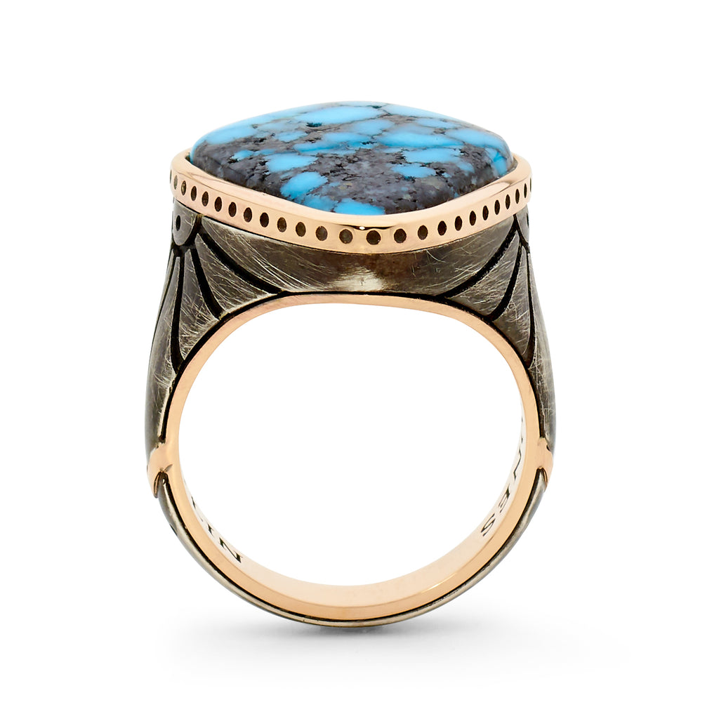 Mens 18ct Rose Gold - Ozidized Silver - Ithaca Peak Turquoise Wedding Band