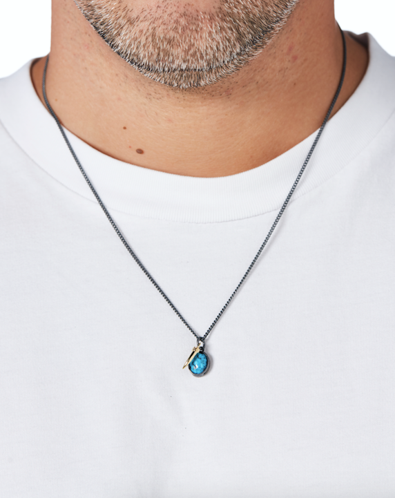 mens jewellery. designer turquoise jewelry. silver turquoise necklace.
