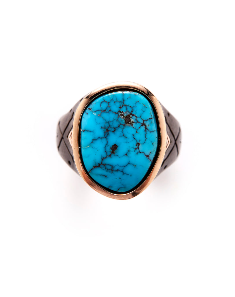 Mens 18ct Rose Gold - Oxidized Silver Morenci Turquoise Ring
