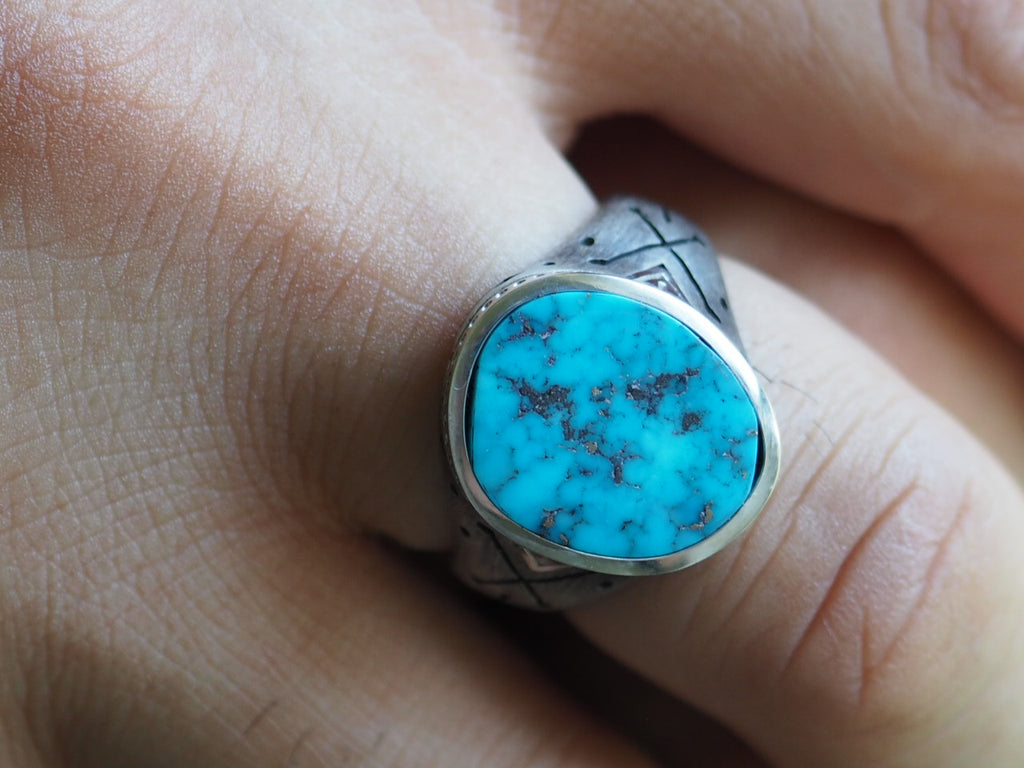 Turquoise Cross-Bones Ring
