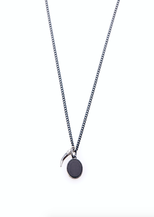 Polished Silver Tusk - Onyx Necklace