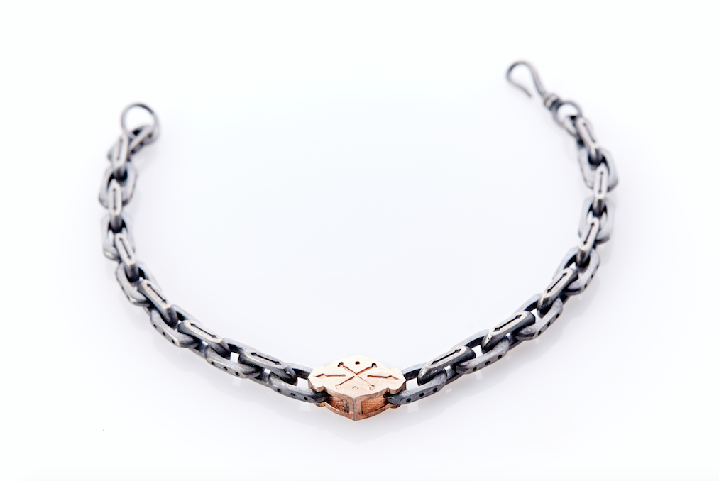 Mens Linked Silver - Gold Bracelet
