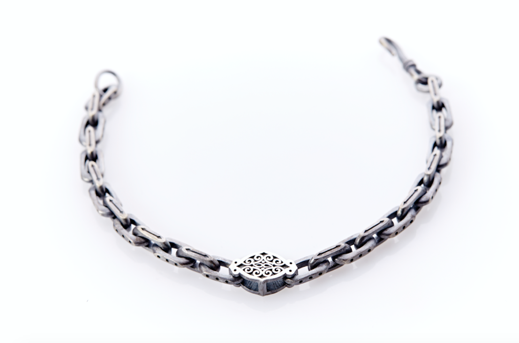 Oxidised Sterling Silver Linked Bracelet Arabesque Pattern Centre Plate