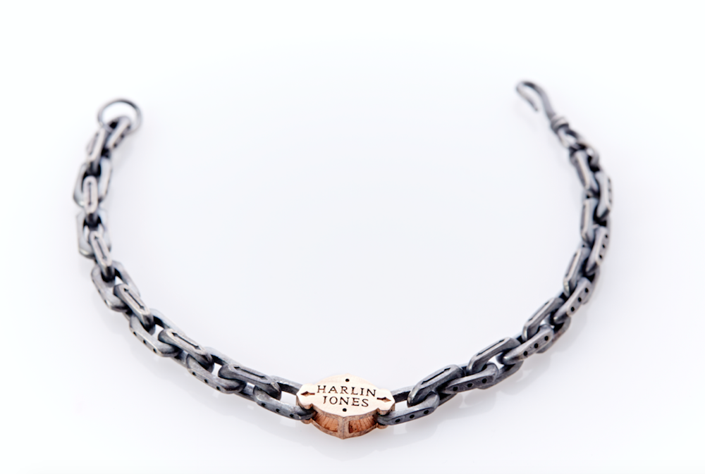 14ct Rose Gold - Oxidised Sterling Silver Linked Bracelet Arabesque Pattern Centre Plate