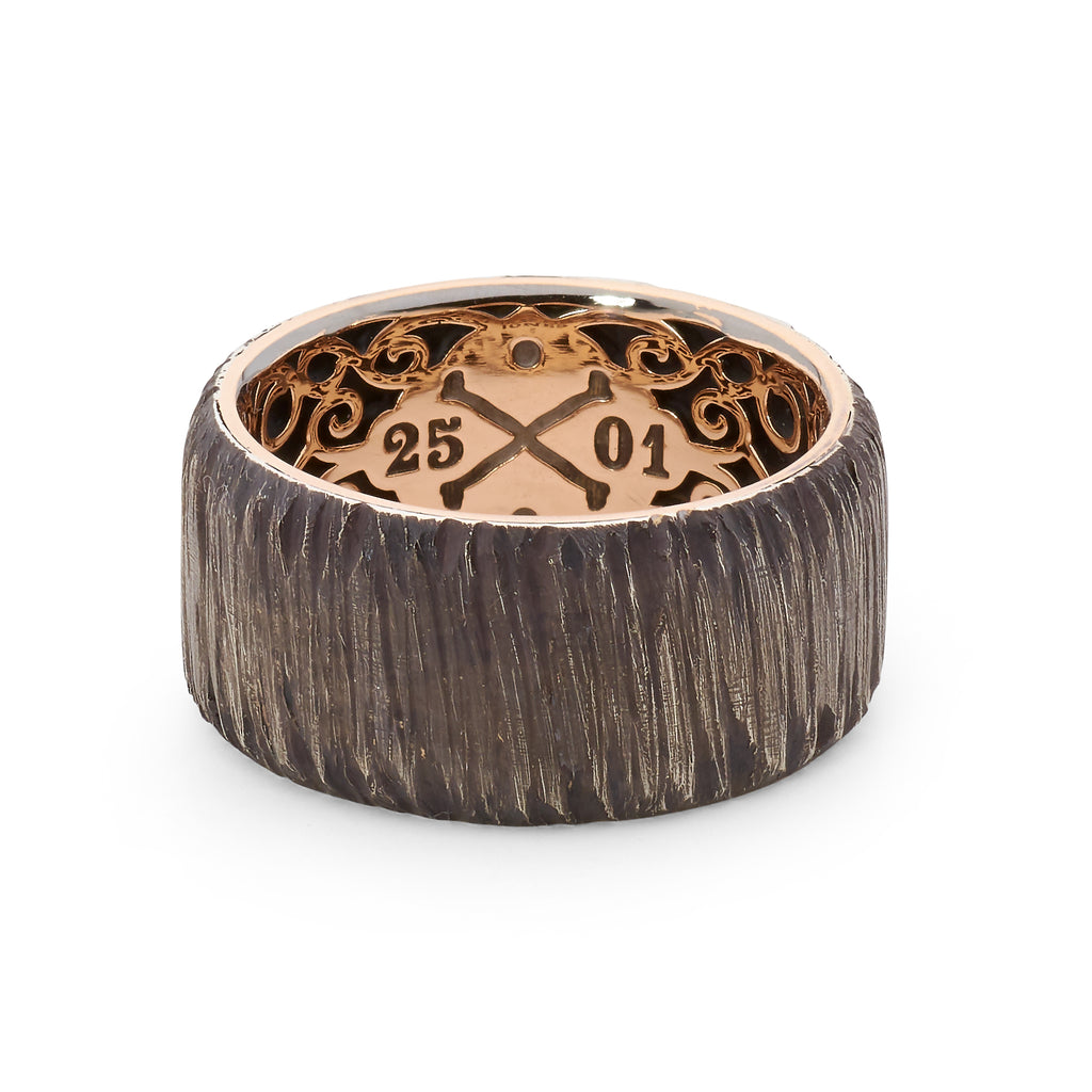 18ct Rose Gold - Oxidized Silver Tree Bark Textured Wedding Band