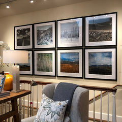 RoverWorks framed art gallery wall at Picket Fence in Ketchum Idaho. Photography by Andrew Grant and Amanda Hedlund.