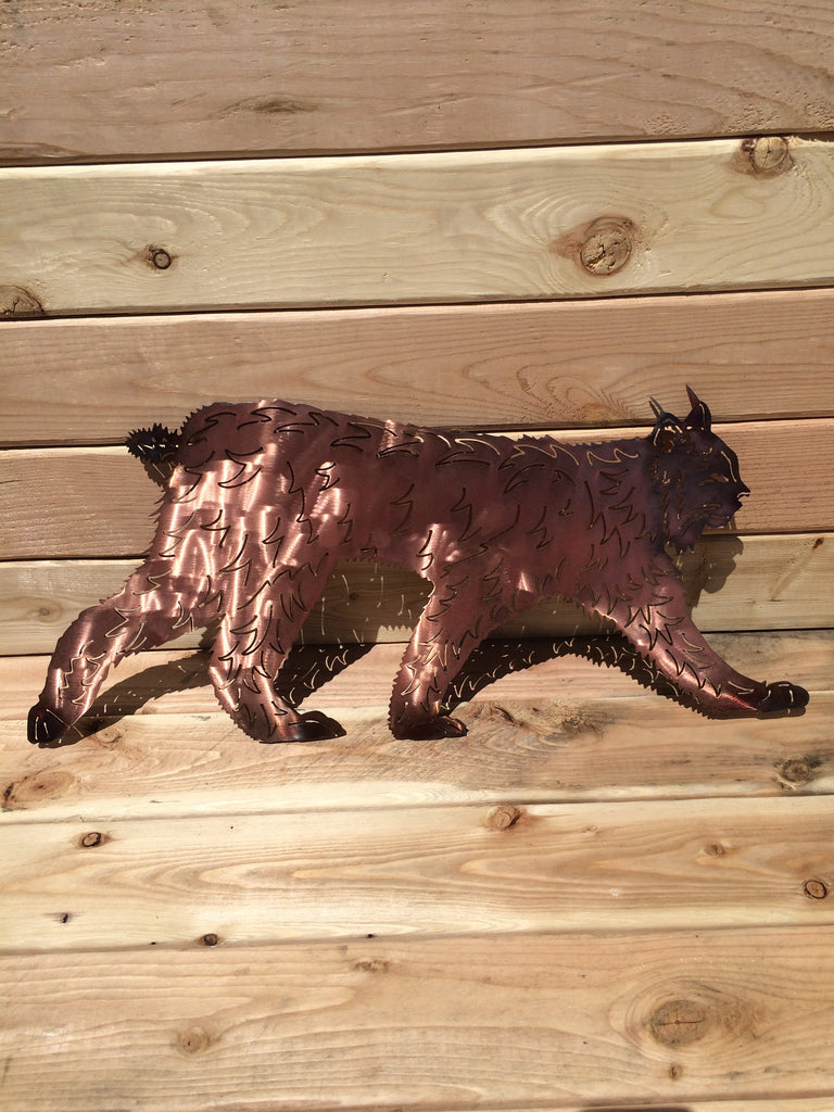 Bobcat Walking Metal Wall Art