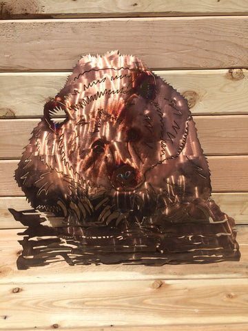 Grizzly Bear on Log Metal Wall Art