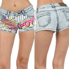 Shorts Mini Denim S M L Super Pow Comic Cartoon Faded Printed Stretch New