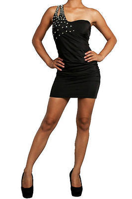 S M L Cocktail Dress Mini One Shoulder Black Jewel Studded Ruched Party Sexy