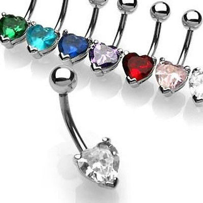 Belly Naval Ring Heart Solitaire Cubic Zirconia 7mm Surgical Stainless Steel