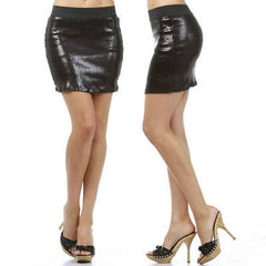Skirt S M L Sequin Black Matte Sparkling Elastic Waistband Mini Party Club New