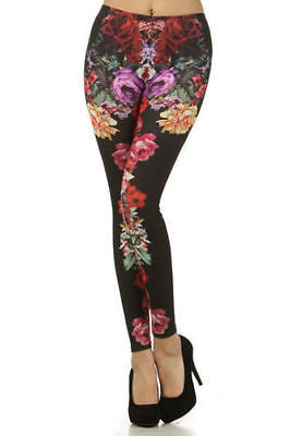 Leggings Small Floral Roses Spring Full Long Length Stretch Skinny Pants New