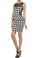 Houndstooth Dress S M L Cocktail Peplum Ruffle Sheer Mesh Sleeveless Mini Party
