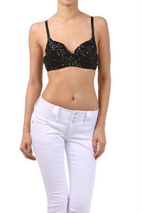 Sexy Club Party Black Sparkling Sequin Metallic Bra Size 38 36 New Dance