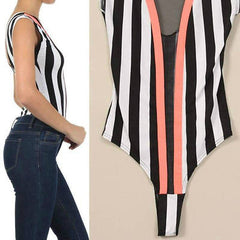 S M L Bodysuit Striped Neon Orange Trim Mesh See Thru Sexy Stretch Top Womens