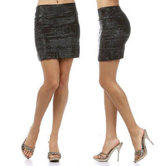 Skirt S M L Black Mini Shiny Wet Look Shimmer Banded Stretch Sexy Party Club New