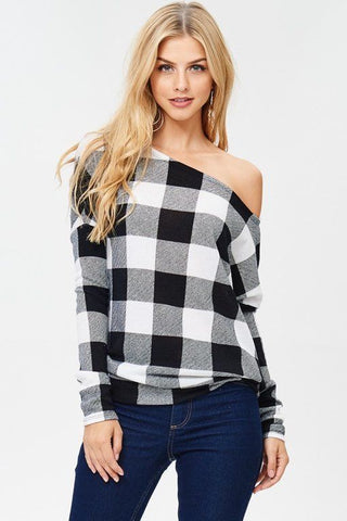 White Black Buffalo Check Long Sleeve Off Shoulder S M L Light Sweater Casual