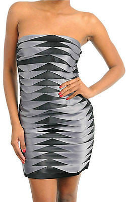 Dress Cocktail Sexy Gray Black Strapless S M L Layered Sateen Satin Ruffle New