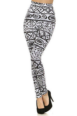 Leggings Tribal Aztec S M L High Waist New Long Pants Gray Black Stretch Knit