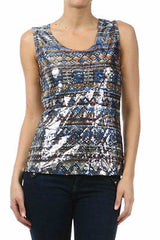 S M Tank Top Sleeveless Sequin Tribal Aztec Sparkling Front Solid Back Size New