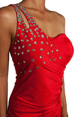 S M L Cocktail Dress Mini One Shoulder Blue Jewel Studded Ruched Glam Party Sexy