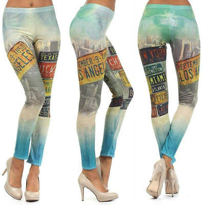S M L Leggings City License Plate Print Multi Color Stretch Skinny Pants New