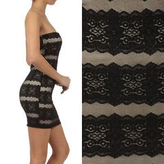 S M L Dress Floral Lace Mesh Strapless Tube Bodycon Fitted Cocktail Mini New