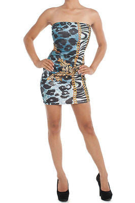 Dress Bodycon Sexy Strapless Animal Leopard Scroll Royal Chain Mini New Stretch