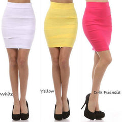 S M L Pencil Skirt High Waist Bandage Career Pleated Diagonal Stretch Sexy Solid