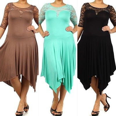 Plus Dress Size 3/4 Lace Sleeve Asymmetrical Sexy 1X 2X 3X Women New Casual