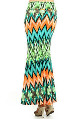 Skirt Chevron Neon Maxi Full Length Casual High Waist Bright New Sexy Stretch