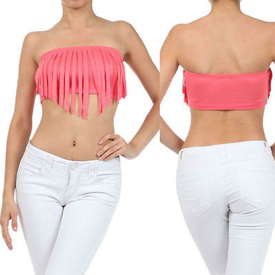 S M L Crop Top Fringe Solid Bandeau Strapless Tube Summer Shirt New Sexy Peach