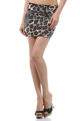 Skirt Large Brown Gray Wild Animal Print Mini Double Layer Veneccia Fabric New