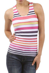 Tank Sexy Basic Summer Multi Color Sunrise Stripe Racerback One Size Fits Most