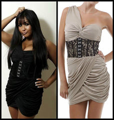 Dress One Shoulder Cocktail Corset Lace Jersey Shore Snooki Mini Taupe S M L New