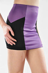 Skirt S M L Color Block Purple Black Mini Bodycon Stretch Fitted Sexy Club New