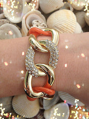 Orange Rhinestone Gold Linked Chunky Fashion Chain Bracelet New Jewelry Toggle